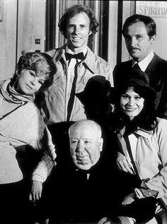 """Family Plot,"" B. Harris, B. Dern, R. Thinnes, K. Black, and Director Alfred Hitchcock, 1976."