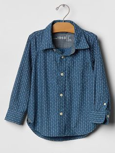 Indigo dot stripe chambray shirt