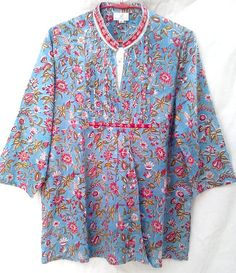 Boho Chic Chinoiserie Sky blue & Raspberry Floral Anokhi Hand block print Pintuck Blouson style Cotton top Blouse