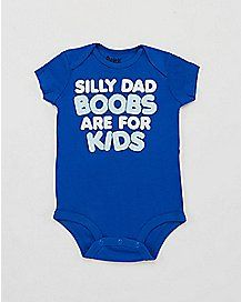 Silly Dad Boobs Are For Kids Blue Baby Bodysuit