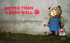 In this playful street artwork by JPS, we see the stuffed bear from the movie Ted engaging in some 'extracurricular activity'. The stencil was thrown up on a building somewhere in Stavanger, Norway earlier this year.