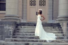 Bridal portrait on stairs at Duke University.