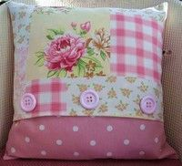 Patchwork Taupe and Rose Button Cushion