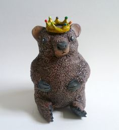 Bear Prince Sculpture Brown Bear Figurine by AlanJamesdesigns