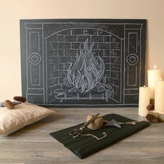 Fur Christmas stockings with a minimalist chalk drawing fireplace ...