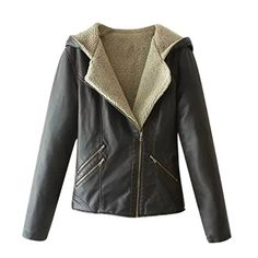 East Castle Women's Zip Up Faux Shearling Outerwear Hooded Motorcycle Jacket L/US 12-14 *** Check this awesome product by going to the link at the image.