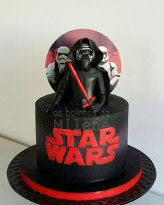Kylo Ren cake - Star Wars Cake - Ideas of Star Wars Cake - Kylo Ren cake Star Wars Party, Star Wars Birthday Cake, Birthday Cakes, Bolo Star Wars, Tema Star Wars, Star Wars Cake Toppers, Anniversaire Star Wars, Movie Cakes, Different Cakes