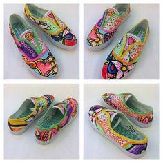Custom Painted Canvas Shoes. $95.00, via Etsy.