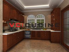 L shape cherry wooden kitchen furniture Solid Wood Kitchen Cabinets, Solid Wood Kitchens, Wooden Kitchen, L Shape, Kitchen Furniture, The Originals, Cherry, China, Home Decor