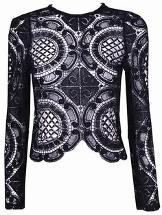 Black Long Sleeve Hollow With Zipper Lace Blouse 17.51