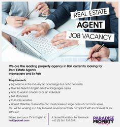 Indonesian or Expat Real Estate agents wanted for a leading Real Estate company here in Bali. Fluent English required all other languages a bonus.  #realestateagent #vacancy #bali #property #indonesia #realestate #agent #indonesians #expats #jobs
