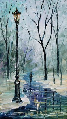 Afremov Print featuring the painting Winter Light by Leonid Afremov