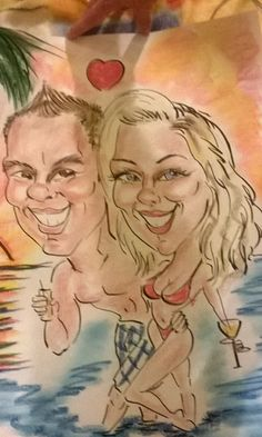 This awesome dude who is awesome & funny as hell makes drawings like this in ibiza Giiihihi