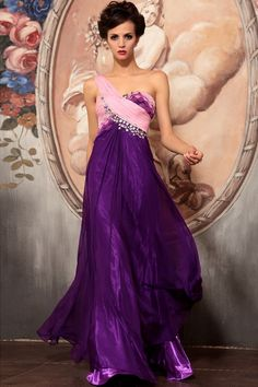 Timeless One-shoulder Ruche Pleated Satin Wrap Floor-length Prom Dress