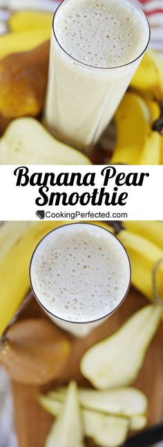 Banana Pear Smoothie Simple Delicious - Smoothies Done Right Pear Smoothie, Fruit Smoothie Recipes, Yogurt Smoothies, Strawberry Smoothie, Juice Smoothie, Smoothie Drinks, Healthy Smoothies, Healthy Drinks, Banana Smoothies