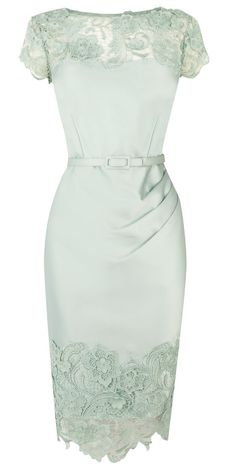 Mint lace pencil dress