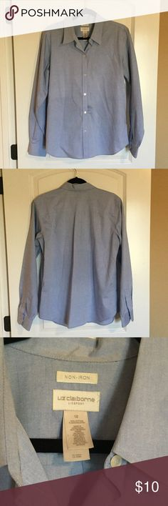 Liz Claiborne classic blue long sleeve button down No iron! Profession Liz classic blue button down. Long sleeves. Perfect under a blazer or tucked into chic dress pants. Liz Claiborne Tops Button Down Shirts