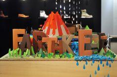 "Mathilde Nivet's display at Timberland Paris store.  (Says ""EARTHKEEPER"")"
