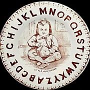 Rare Antique ABC Child's Nursery Rhyme Plate ~ LITTLE JACK HORNER