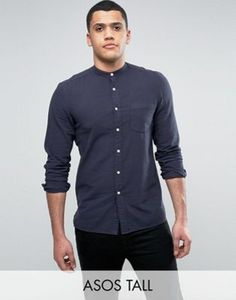ASOS TALL Regular Fit Textured Shirt With Grandad Collar In Navy