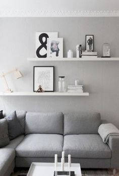 living room details, grey walls, from createcph. living room details, grey walls, from createcph. Shelves Above Couch, Living Room Shelves, Living Room Storage, Living Room Grey, Living Room Decor, Living Rooms, Living Room Wall Decor Ideas Above Couch, Decor Above Sofa, Living Walls