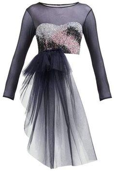 Germanier - Bead Embellished Bandeau Panel Tulle Top - Womens - Black