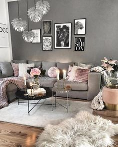 28 Cozy Living Room Decor Ideas To Copy. Recreate this grey and pink cozy living room decor Here are 28 cozy living room decor ideas and everything you need to recreate these cozy living room vibes in your apartment. Farm House Living Room, Pink Living Room, Room Design, Luxury Room Decor, Living Room Grey, Living Room Decor Cozy, Living Room Wood, Living Decor, Luxury Rooms