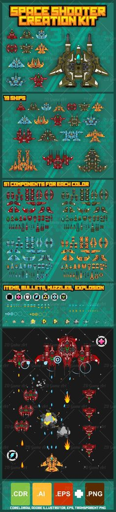 Build your own spaceship for your space shooter or shmup game with this modular…
