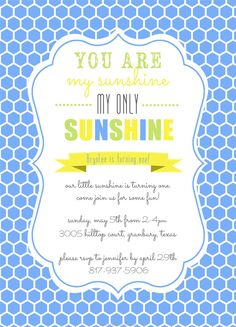 You are my sunshine party invite