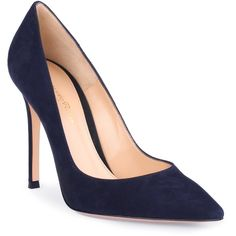 86c96155001a Gianvito Navy Suede Pump ( 675) ❤ liked on Polyvore featuring shoes