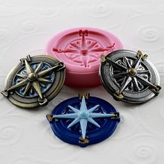 Nautical Silicone Mold Compass Resin Polymer Clay PMC door MoldMuse, $5.75
