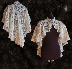 Romantic capelet/cloak in ivory lace The hems are decorated with flowery trim and French Chantilly lace. ivory lace cloak, Somnia Romantica by M. Diy Clothes, Clothes For Women, Lolita Cosplay, Victorian Costume, Antique Lace, Classy Women, Cloak, Lolita Fashion, Lace Tops