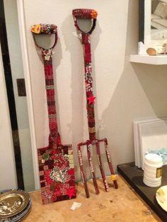 Mosaic garden fork and spade By Bev Cohen