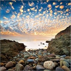 Alto Cumulus clouds at sunset, Point Mugu State Park, Malibu, CA