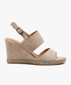 Sandales compensées dessus cuir Beige