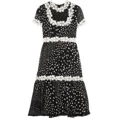 Giambattista Valli Lace-trimmed polka-dot silk-georgette dress (22.120 ARS) ❤ liked on Polyvore featuring dresses, black, giambattista valli dress, floral dresses, floral knee length dress, floral printed dress and floral fit-and-flare dresses