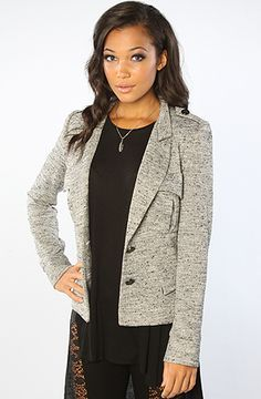 b9d0923e276c7 aryn K The Utility Knit Blazer Model is wearing a size Small Speckled  blazer with button closure  By aryn K