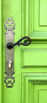Fill in the blank Word - Green. #greenworksgames #sponsored  Gorgeous green  ornate doorhandle.