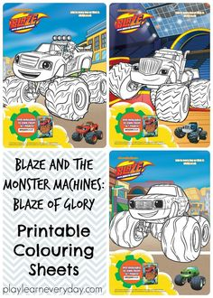 Free printable colouring sheets of Blaze, Darington and Pickle from Blaze and the Monster Machines:Blaze of Glory.