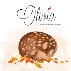 Lief geboortekaartje meisje in herfst stijl met handgeschilderd hertje