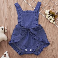 Wholesale Lace-collar Jeans Pure Color Sleeveless Jumpsuit from Our website with high quality and fast shipping worldwide. Knitting Dolls Clothes, Sewing Kids Clothes, Baby Sewing, Newborn Onesies, Baby Outfits Newborn, Baby Dress Patterns, Romper Pattern, Baby Jumpsuit, Romper Outfit