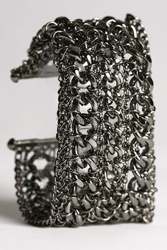 UrbanOutfitters.com > Wide Mixed Chain Bracelet :  rocker chic jewelry accessories womens