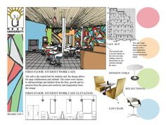 NEXT University- This is 1 of 5 boards done for this project and shows the an elevation, furniture selection, color scheme, and reflected ceiling plan. The board was chosen to explain my design decisions.