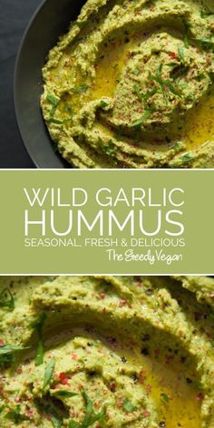 This brightly coloured wild garlic hummus takes healthy eating to a whole new level. Wild garlic is a delicious herb that comes with a wide range of benefits. #wildgarlic #hummus #vegan