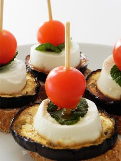Grilled Aubergine & Goats Cheese Bites | Tapas Recipes  Or Eggplant, mozzarella, and tomato..