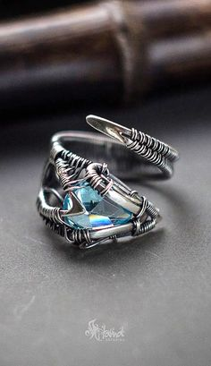 Sterling silver wire wrapped adjustable ring.