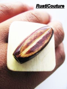 HandCrafted Platinum Color Square Wood Ring by rusticouture Stylish Womens Suits, Suits For Women, Wood Rings, Dress For Success, Brown Wood, Belts, Skirt, Unique Jewelry, Handmade Gifts