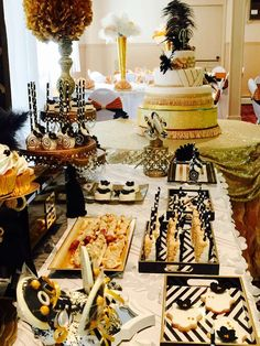 Great Gatsby Quinceañera  party dessert table! See more party ideas at CatchMyParty.com!