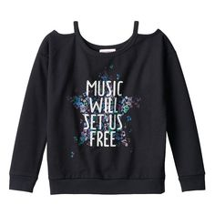 "Girls 7-16 SpacePOP ""Music Will Set Us Free"" Cold-Shoulder Top, Girl's, Size:"