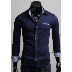 $7.54 Spring Casual Mens Checket Splicing Long Sleeve Shirt